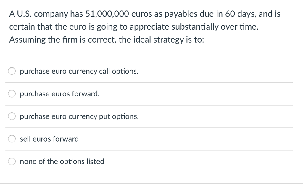 A U S Company Has 51 000 Euros As Payables Due In 60 Days And Is Certain