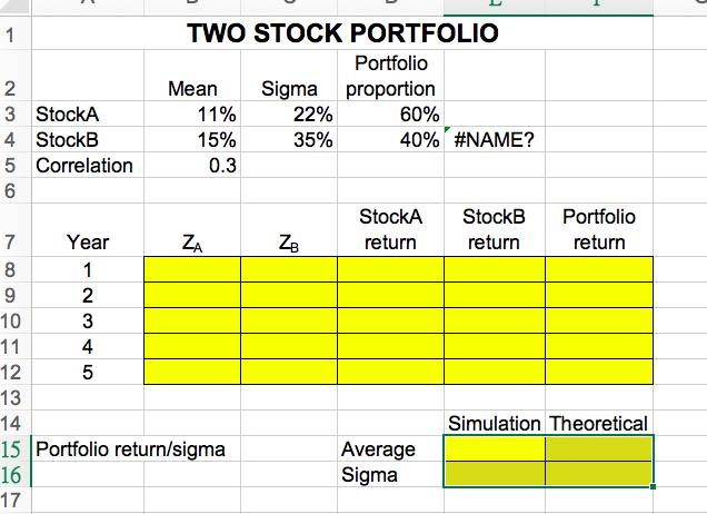 Solved: TWO STOCK PORTFOLIO Portfoli Mean Sigma Proportion