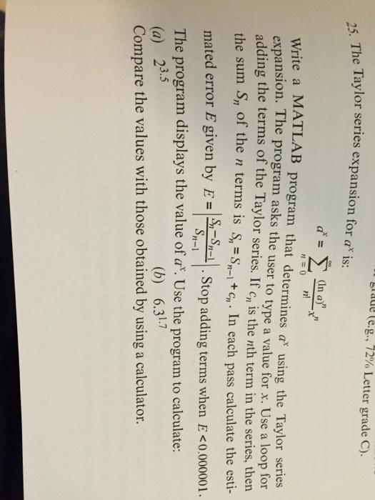 Solved: Grade (e.g., 72% Letter Grade C). Aylor Series Exp
