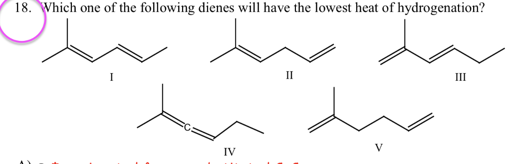 18.Which one of the following dienes will have the lowest heat of hydrogenation? IV