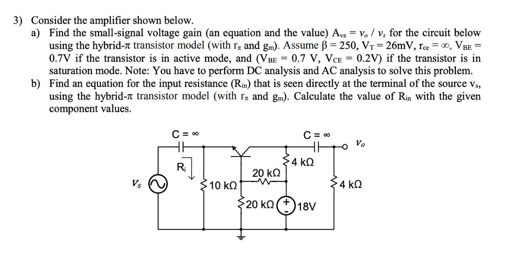 solved 3) consider the amplifier shown below a) find the
