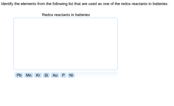 Identify The Elements From Following List That Are Used As One Of Redox Reactants