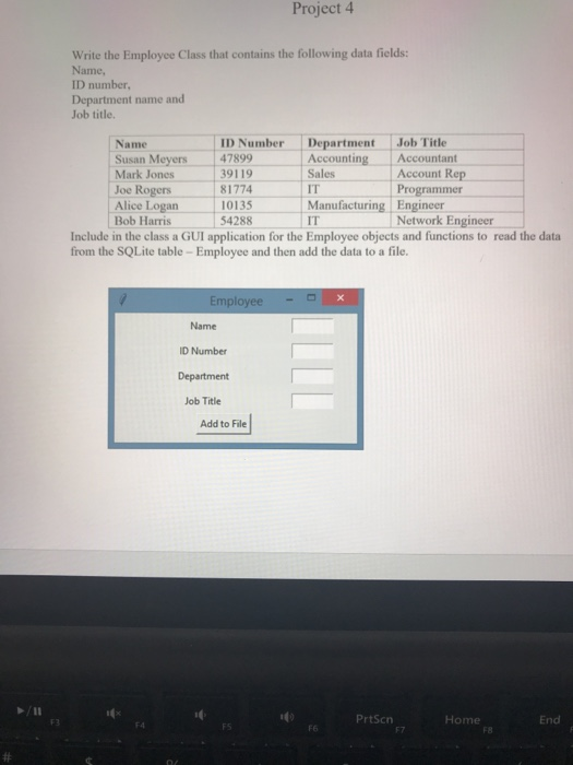 Solved: Project 4 Write The Employee Class That Contains T