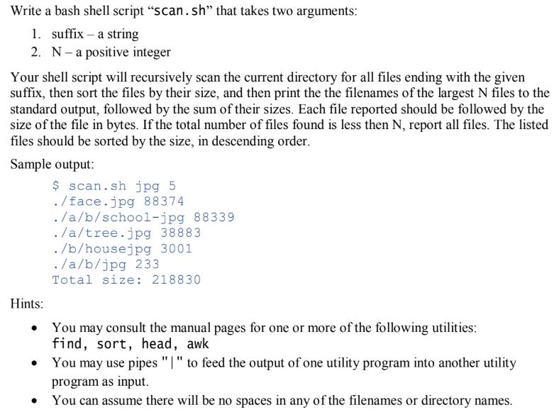 Solved: Write A Bash Shell Script