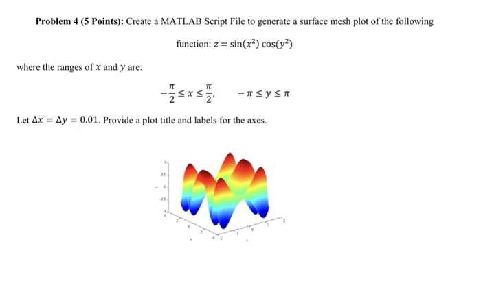Solved: Problem 4 (5 Points): Create A MATLAB Script File