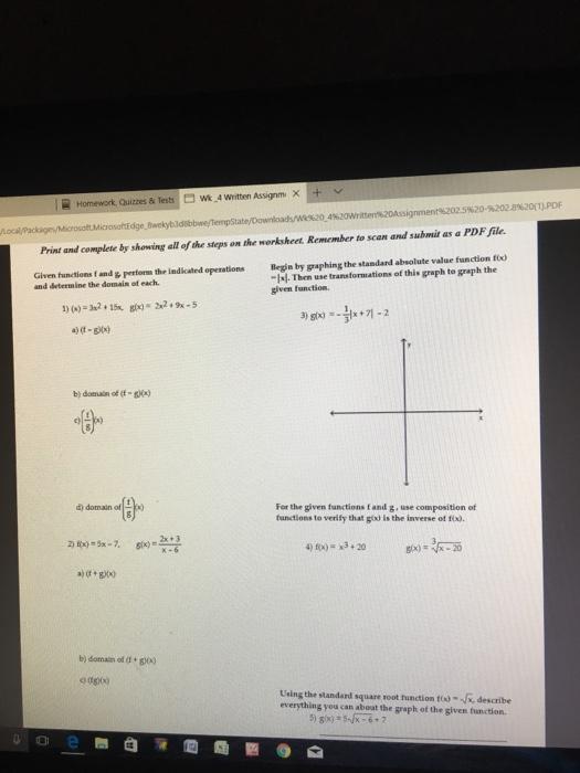 Solved Wt 4 Written Assgrm Homework Quizzes Tests T