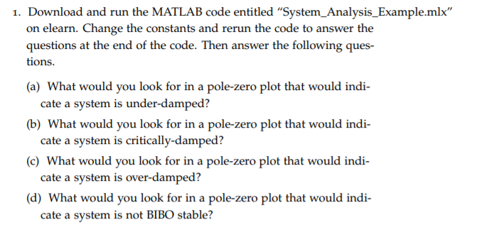 Solved: 1  Download And Run The MATLAB Code Entitled