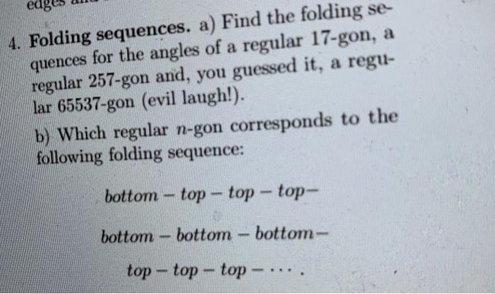Solved: Edg 4  Folding Sequences  A) Find The Folding Se