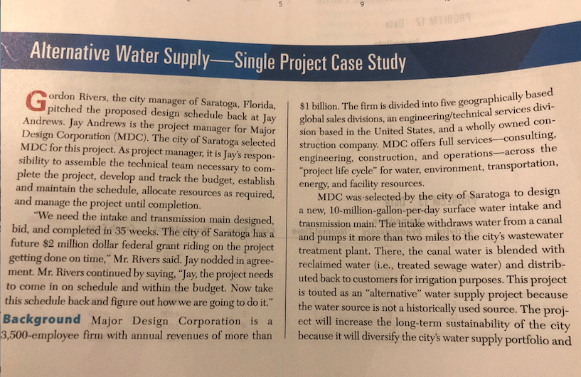 Solved: Alternative Water Supply Single Project Case Study