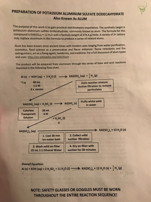 synthesis of alum lab report conclusion