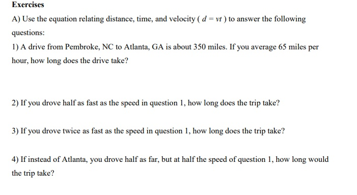 Solved Exercises Questions 1 A Drive From Pembroke Nc