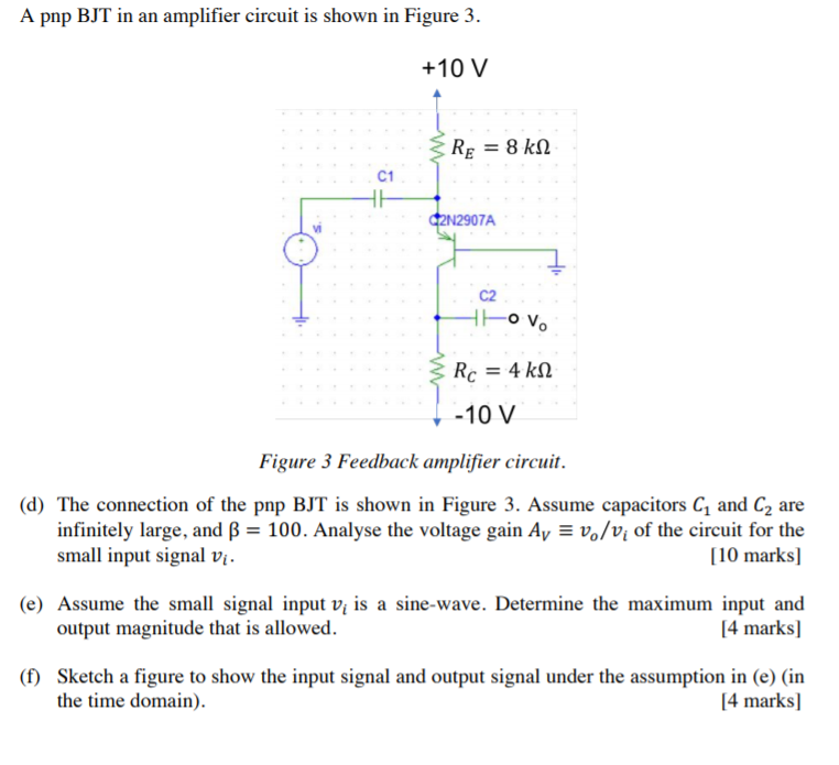 Solved: A Pnp BJT In An Amplifier Circuit Is Shown In Figu ...