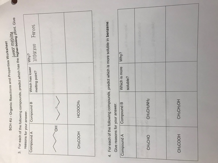 Solved: 4u- Organic Reactions And Properties Worksheet Low ...