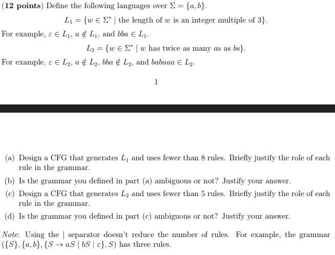 (12 points) Define the following languages over Σ {a, b} For example, ε E Li, a ¢ Li, and bla E L1. For example, ε E L2 , a 또