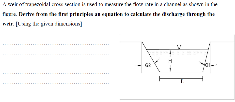 Solved: A Weir Of Trapezoidal Cross Section Is Used To Mea