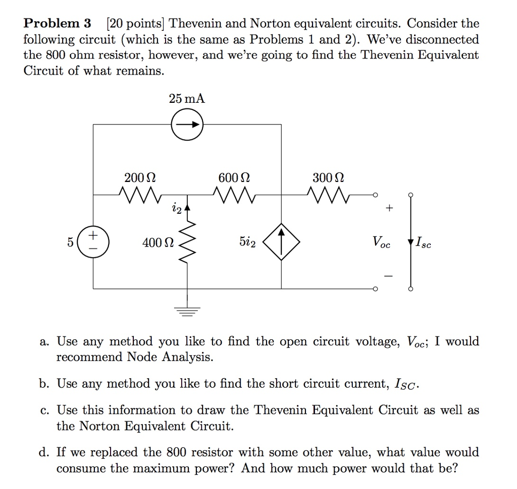 Solved Problem 3 20 Points Thevenin And Norton Equivale Parallel Circuit Resistance As Well Series Circuits Equivalent Consider The Following