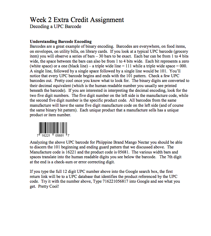 Solved: Week 2 Extra Credit Assignment Decoding A UPC Barc