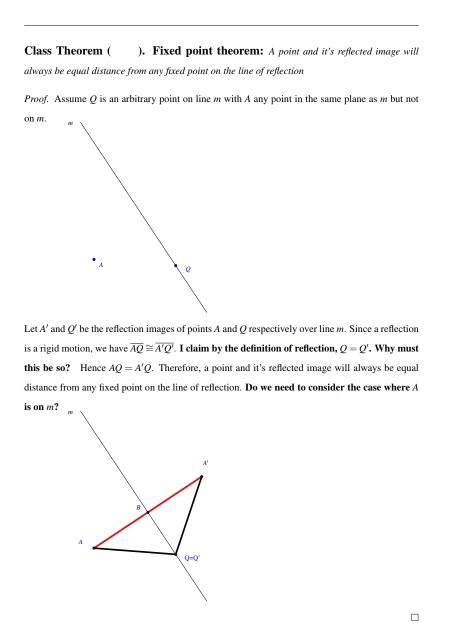 Solved: Class Theorem Fixed Point Theorem: A Point And It