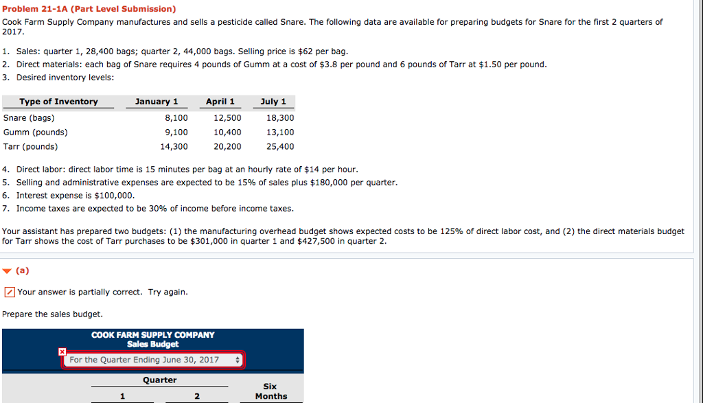 Problem 21 1A Part Level Submission Cook Farm Supply Company Manufactures And Sells