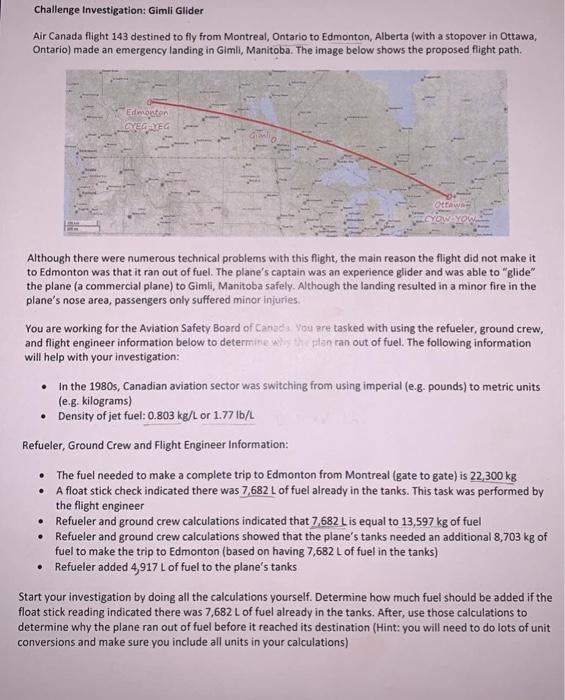 solved challenge investigation gimli glider air canada f chegg com gimli glider air canada f