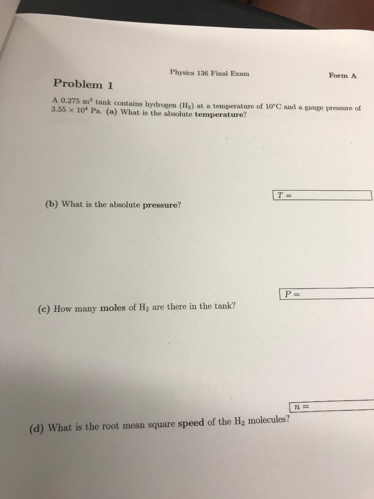 Solved: Physics 136 Final Exam Form A Problem 1 A 0 275 M3