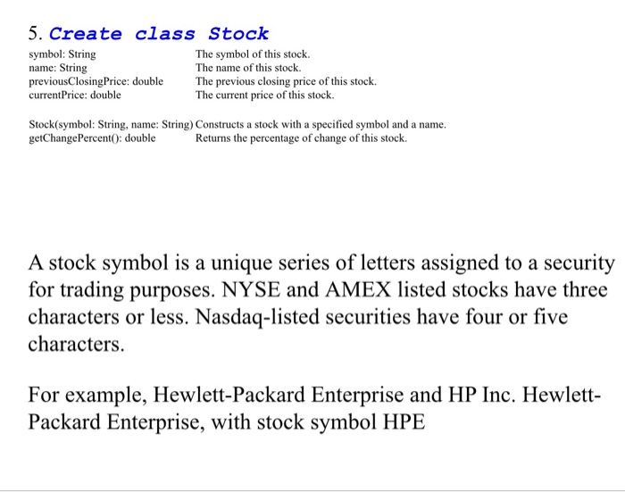 Solved 5 Create Class Stock Symbol String Name String