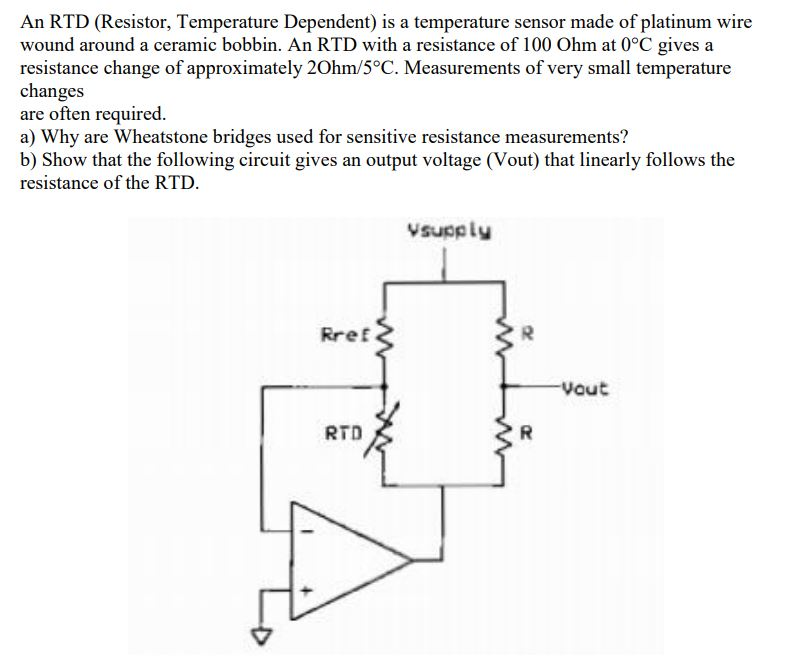 solved: an rtd (resistor, temperature dependent) is a temp... | chegg.com  chegg