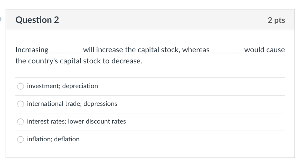 Solved: Question 2 2 Pts Will Increase The Capital Stock
