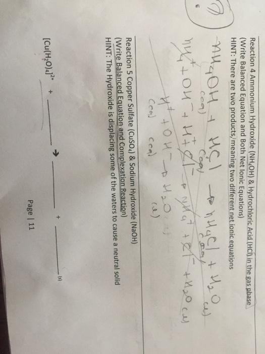 Solved Ammonium Hydroxide Nh4oh Hydrochloric Acid H