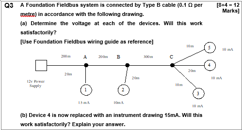 Peachy Solved Q3 A Foundation Fieldbus System Is Connected By Ty Wiring 101 Ariotwise Assnl