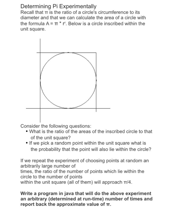 Solved: Determining Pi Experimentally Recall That π Is The