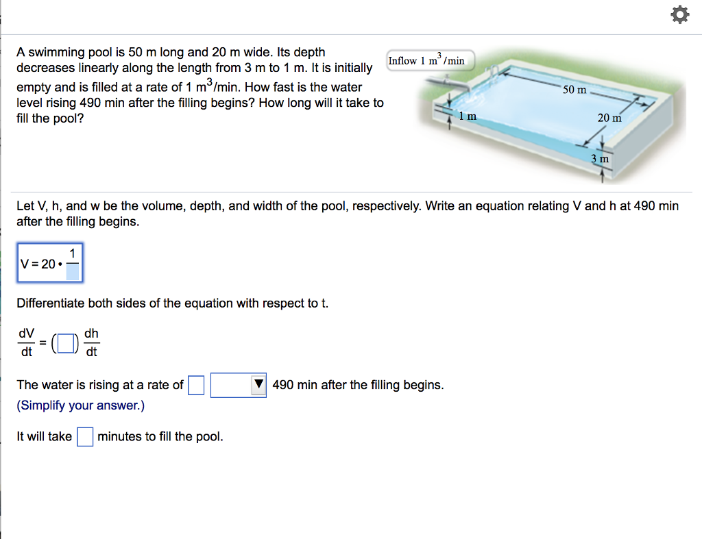 Solved: A Swimming Pool Is 50 M Long And 20 M Wide. Its De ...