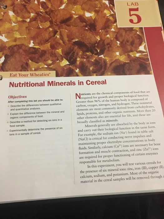 """Eat Your Wheaties"""" Nutritional Minerals"""