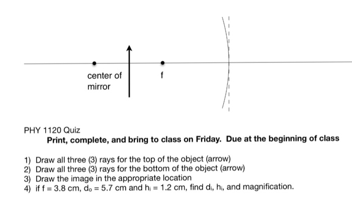 Solved: Center Of Mirror PHY 1120 Quiz Print, Complete, An