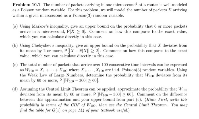 Problem 101 The Number Of Packets Arriving In One Microsecond At A Router Is Well