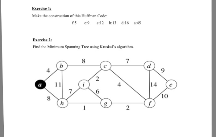 Solved: Make The Construction Of This Huffman Code: F:5 E