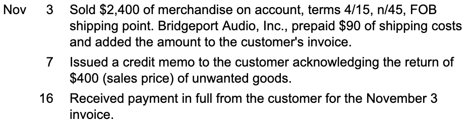 Sold $2,400 of merchandise on account, terms 4/15, n/45, FOB shipping point. Bridgeport Audio, Inc., prepaid $90 of shipping