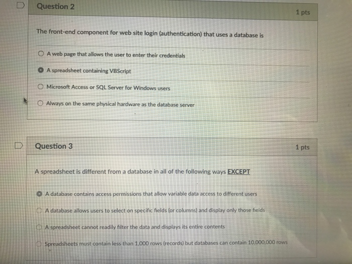 Solved: Question 2 1 Pts The Front-end Component For Web S