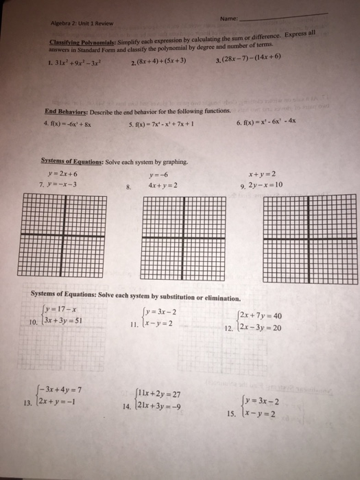 Solved: Name: Algebra 2: Unit 1 Review Express All Simplif