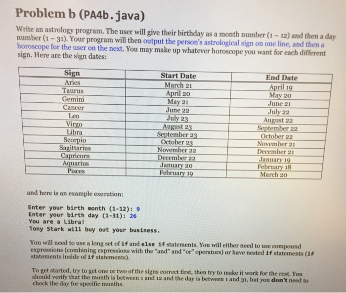 Solved: Problem B (PA4b java) Write An Astrology Program