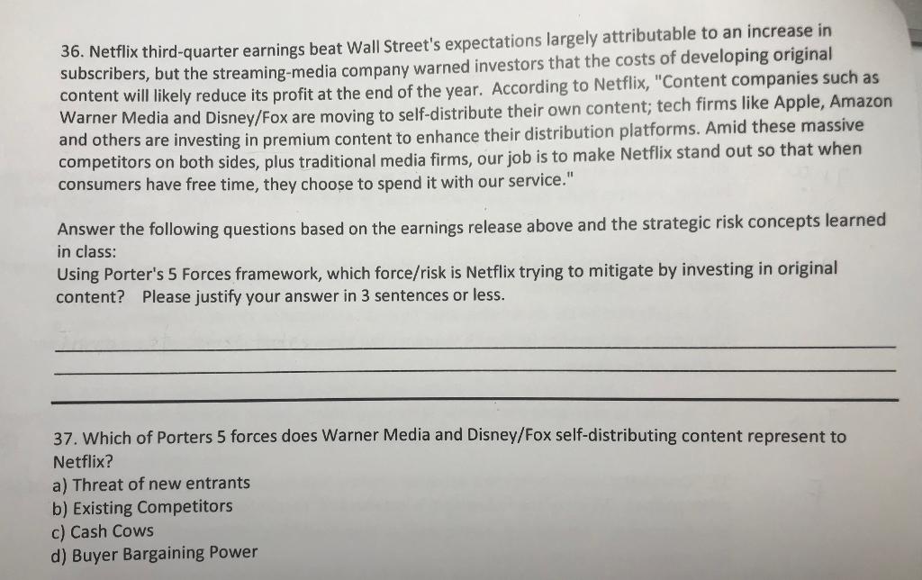 Solved 36 Netflix Third Quarter Earnings Beat Wall Stree