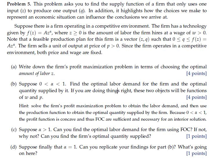 Economics recent questions chegg problem 5 this problem asks you to find the supply function of a firm that fandeluxe Image collections