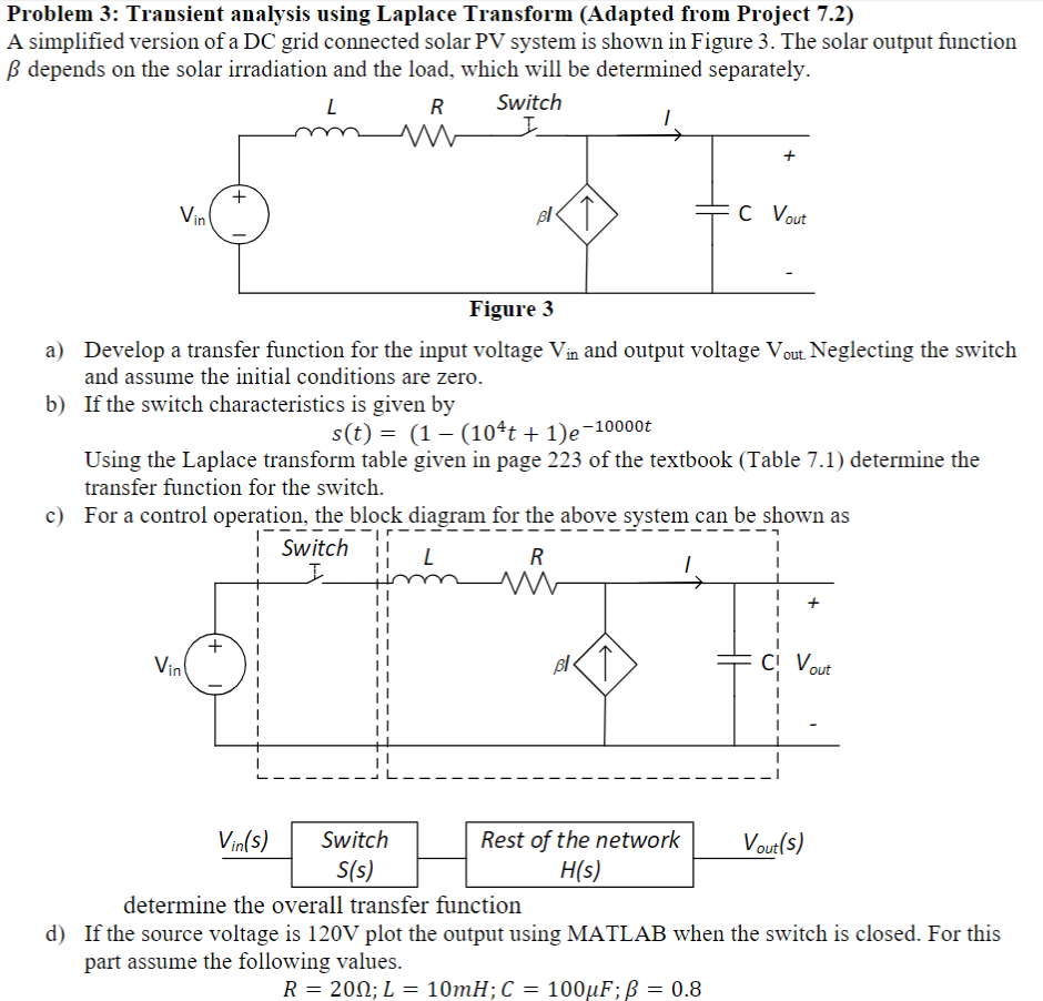 problem 3: transient analysis using laplace transform (adapted from project  7 2) a simplified