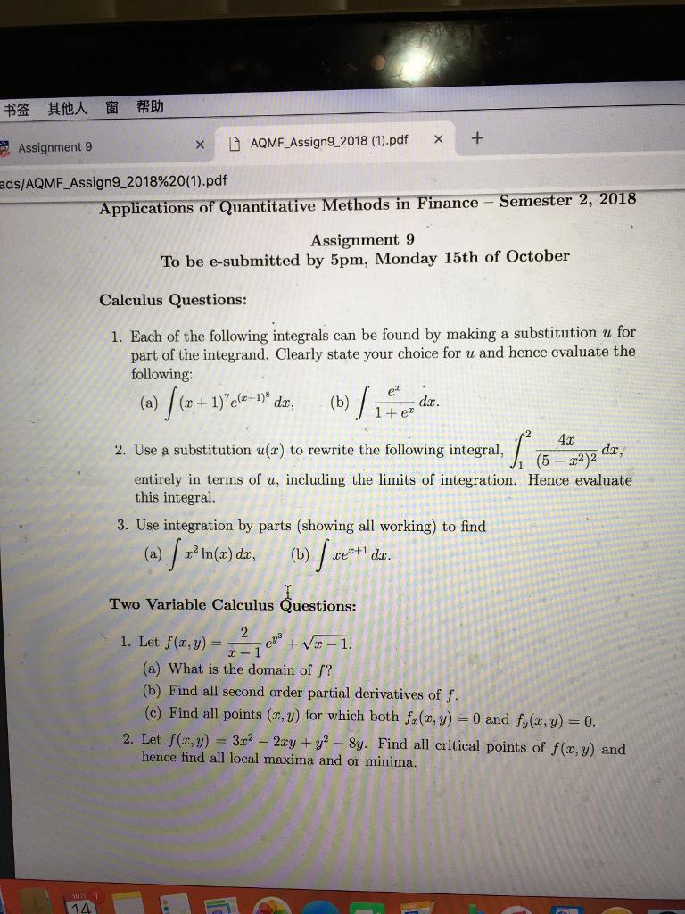Solved: 书签 其他人 窗 帮助 9 × DAQMF-Assign9 2018 (1) pdf