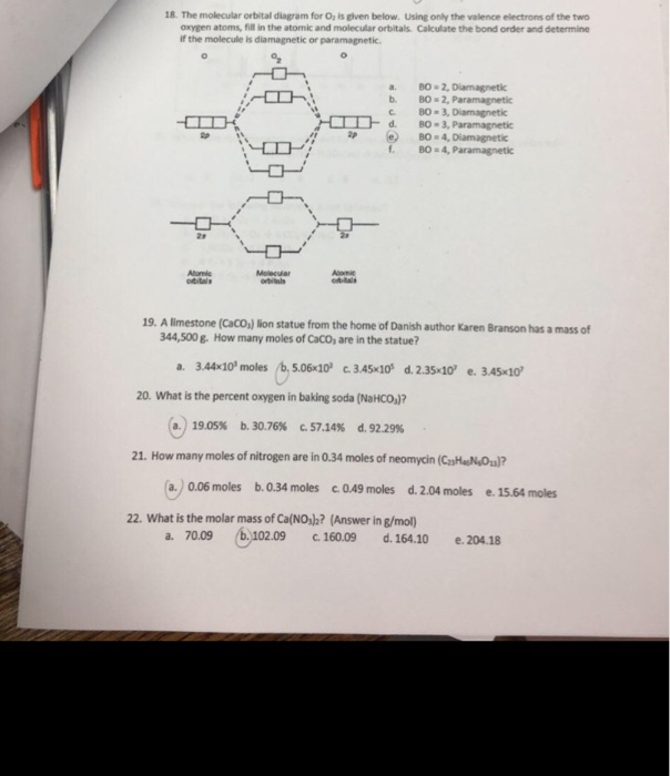 the molecular orbital diagram for oz is glven below  using only the valence