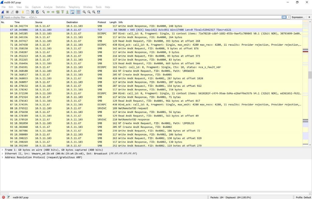 PCAP Files To Use: ○ Ms08-067 PCAP File- Https://g