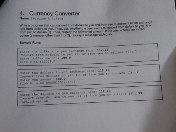 4 Currency Converter Name Exercise 5 Java Write A Program That Can