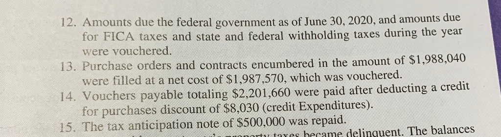 12. Amounts due the federal government as of June 30, 2020, and amounts due for FICA taxes and state and federal withholding