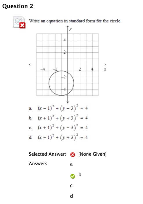 Solved Write An Equation In Standard Form For The Circle