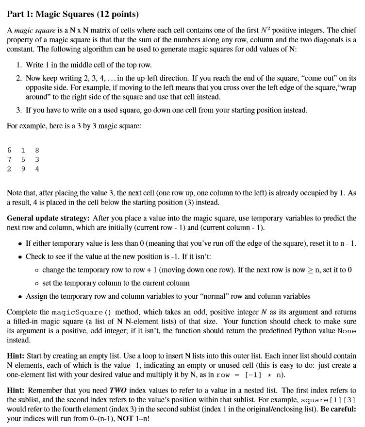 Solved: Part I: Magic Squares (12 Points) A Magic Square I
